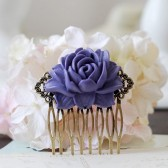 Purple Wedding Flower Hair Comb. Large Purple Flower Filigree Hair Comb