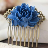Large Cobalt Blue Flower Hair Comb
