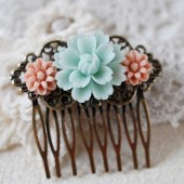 Flower Floral Collage Hair Comb