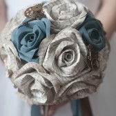 Book Page Antiqued Rose Steampunk Bridal Bouquet 15 Stem