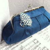 Peacock Teal clutch with brooch