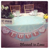 Love, personalized burlap and lace banner