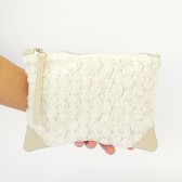 Roses clutch, off white ivory leather