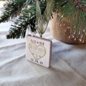 Christmas Heart Wedding Favor Ornaments