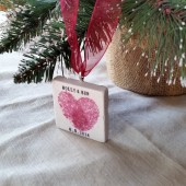 Heart Thumbprint Wedding Favor Ornament