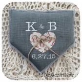 Grey Burlap home plate shaped Baseball themed ring pillow