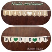 Burlap banner with a message on each side