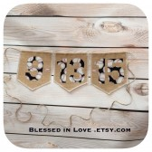 Baseball Save the Date burlap banner