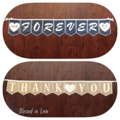 Reversible FOREVER/THANK YOU burlap banner