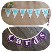 Two item set, SWEETS and mini CARDS burlap banners