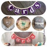 Two item set, Mini CARDS burlap banner, one personalized burlap ring pillow