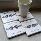Personalized Love Bird Wedding Favor Coasters