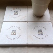 Personalized Love Bunny Wedding Favor Coasters - Set of 25