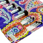 Makeup Brush Roll | Purple Paisley