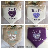 Baseball wedding decor, home plate shaped burlap, personalized ring pillow with baseball lavender heart