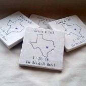 Personalized Texas State Wedding Favor Coasters