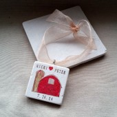 Personalized Rustic Barn Wedding Favor Ornaments