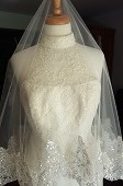 Fingertip Sequined Lace Drop Wedding Veil