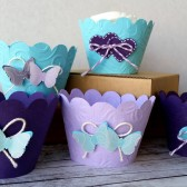 Aqua and Lavender Cupcake Wrappers