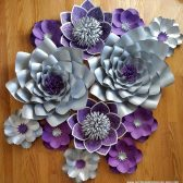 Paper flower backdrop, paper flowers, wedding backdrop, purple and silver flowers, plum and gray wedding
