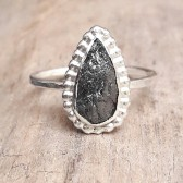 Pear Shaped Rough Black Diamond Ring