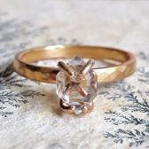 Solid Gold Herkimer Diamond Engagement Ring by Gaia's Candy