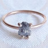 Rough Gray Diamond Engagement Ring