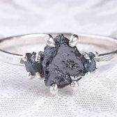 Three Stone Rough Diamond and Sterling Silver Engagement Ring