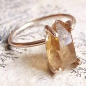 Natural Citrine Crystal  Engagement Ring