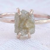 Rough Yellow Diamond Engagement Ring