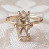Large Herkimer Diamond Quartz Crystal Engagement Ring by Gaia's Candy