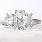 Three Stone Herkimer Diamond Quartz Crystal Engagement Ring by Gaia's Candy
