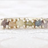 Solid Gold Rough Diamond Rainbow Ring by Gaia's Candy