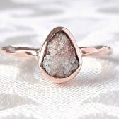 Rough Peach Diamond and 14K Rose Gold Engagement Ring by Gaia's Candy
