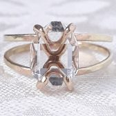 14K gold split band Herkimer diamond quartz crystal ring by Gaia\'s Candy