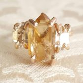 Natural Citrine and Herkimer Quartz Engagement Ring