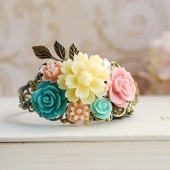 Ivory Blue Pink Flower Collage Cuff Bracelet. Flower Bouquet Bracelet. Vintage Inspired Wedding Bracelet, Maids of Honor Bridesmaids Gift
