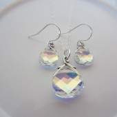 Bridal Necklace and Earring Jewelry Set Swarovski Aurora Borealis