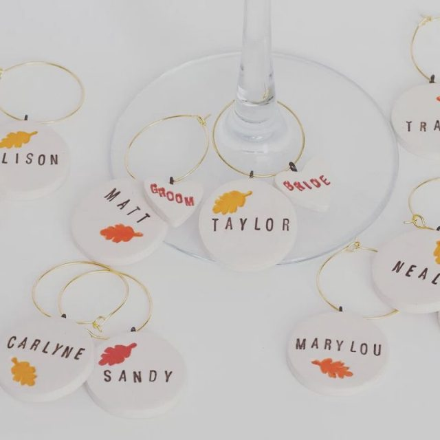 Super cute wine charms with personalization our new fave weddingfavorhellip