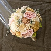 Romantic Wedding Bouquet -Small Alternative Natural Sola Flower Bridal Bridesmaid Bouquet, Keepsake Wood Bouquet, Shabby Chic Rustic Wedding