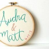 custom embroidered name hoop for the bride and groom