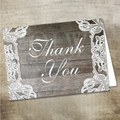 Vintage Doily Lace Wood Thank you card