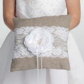 Rustic linen ring pillow, Natural wedding ring bearer pillow, Pillow with lace and flower, Spring wedding Ring cushion