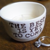 The Best Is Yet To Come handmade wedding ring pillow or wedding candle holder