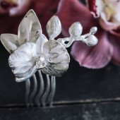 Orchid flower hair comb in sterling silver