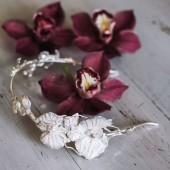 Sterling silver orchid flower headband