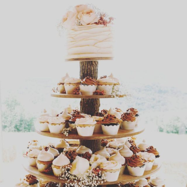 Weddings  Cupcakes     tower by worksofwoodshellip