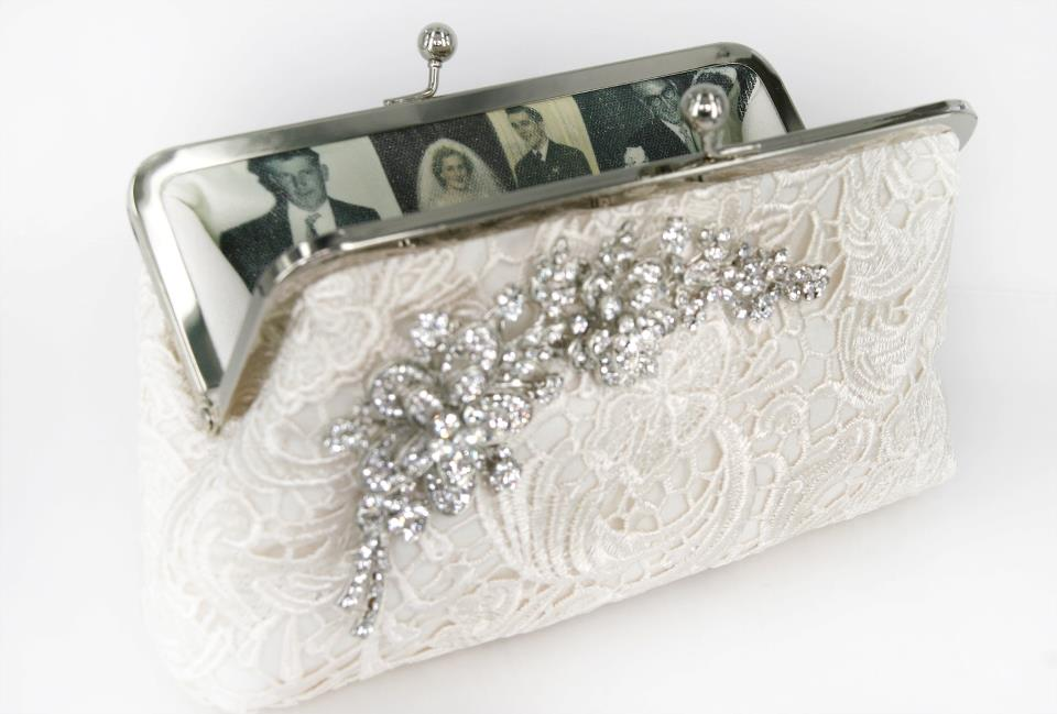 Treasured Photographs from Parents' weddings into a personalized clutch bag