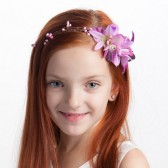 Pink flower girl headband, flower girl hair accessories, woodland wedding, pink orchid flower crown, radiant orchid