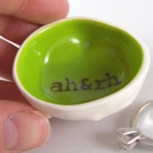 Key lime green wedding ring dish